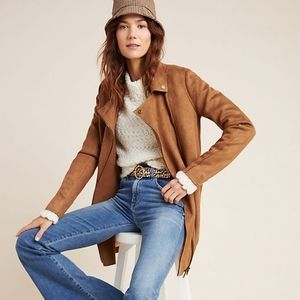 ANTHROPOLOGIE SUEDED LONGLINE MOTO JACKET